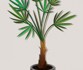 Tree pot needle leaves colored 3d shiny vector