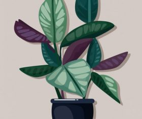 Decorative plant colored classical flat vectors