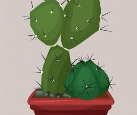 Decorative cacti plant pot colored vector