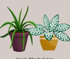Plant pot icons colored illustration vector