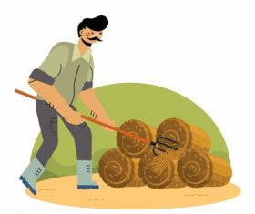 Farming painting farmer straw cartoon vector design
