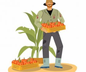 Farming work painting farmer pumpkin products cartoon vector