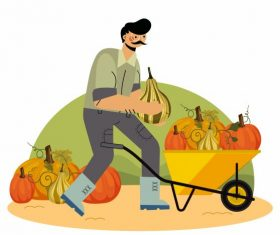 Farming work painting man pumpkins wheelbarrow vector material