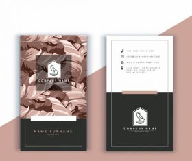 Business card template leaves vector