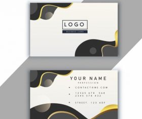 Business card template modern bright abstract curves vector