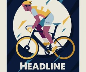 Bicycle race poster cyclist classical vector