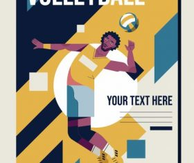 Volley ball poster athlete colorful vector design