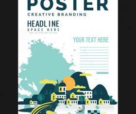 City scene poster colorful grunge vector design