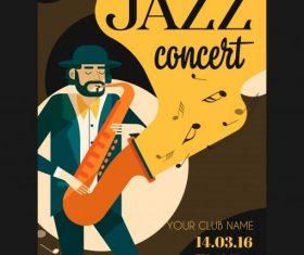 Jazz concert poster trumpet performer colorful vector