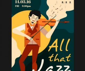 Jazz party poster violinist colorful design vectors