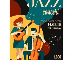 Jazz concert poster guitarists icons cartoon characters vector