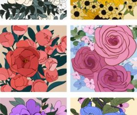 Flowers backgrounds colored classical closeup handdrawn vector