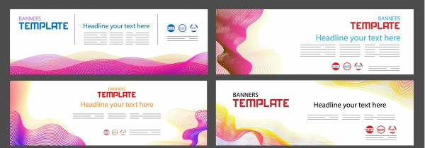 Corporate banner templates bright colorful modern vector