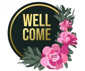 Welcome sign template petals circle shape vector