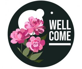 Welcome sign template classical petals vector