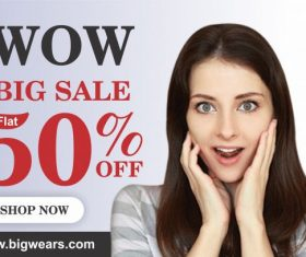 Wow big sale post cover vector