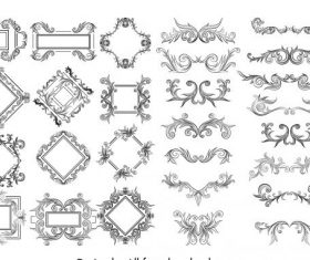 Border decorative elements templates vectors material set