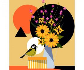 Flower bird colorful flat vectors material