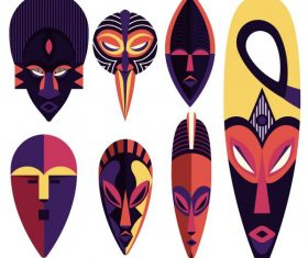Ethnic mask templates frightening faces colorful symmetric vector