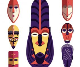 Tribal mask colorful retro sign vector