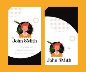 Name card template portrait vertical design vectors