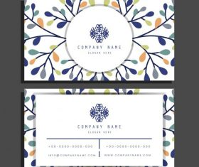Business card template bright colorful flat leaves vector