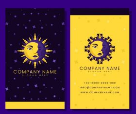 Business card template with moon sun vector