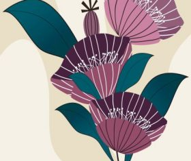Decorative flower painting colored classical vector
