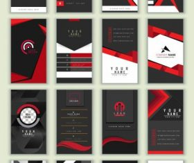 Business cards templates collection dark abstract vector