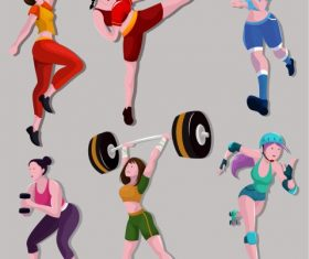 Sports girls icons colored cartoon characters vector