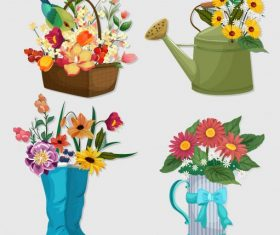 Decorative flower icons colorful symbols vector