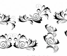Document decorative elements black white curves vector
