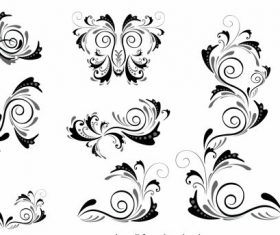 Borders elements swirled shapes vector