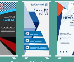Company banner templates rolled up shape modern design vectors