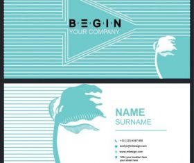 Business card template leaning flower arrow stripes vector