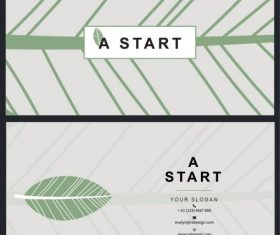 Business card template leaf pattern flat vector