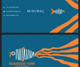 Business card template and fish vector set