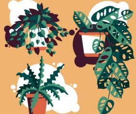 Decorative plant pots icons colred leaves vector