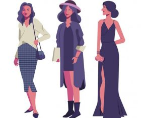 Female fashion icons cartoon characters vector design