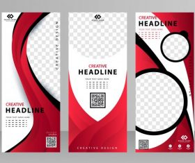 Business banner templates red white black vectors material