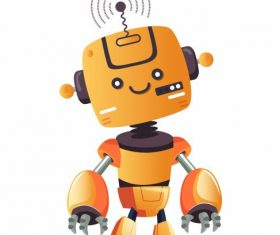 Robot model cute cartoon character humanoid shape design vector