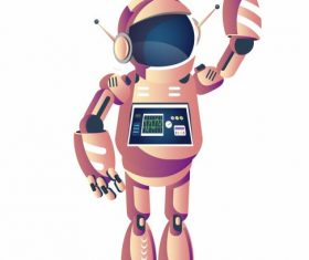 Robot welcoming gesture humanoid shape cartoon vector