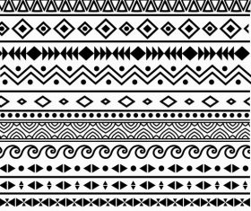 Ethnic pattern retro black white repeating abstract shapes vector