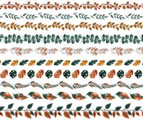 Natural border elements templates colorful leaves shapes vector