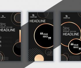 Corporate brochure templates modern dark black vector