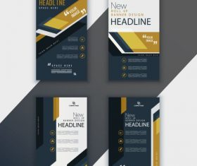 Corporate brochure templates dark vertical vectors