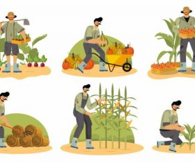 Farming work cartoon characters vector