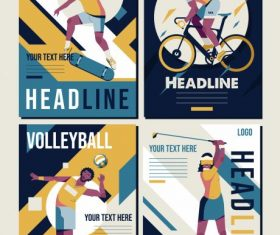Sports banner templates colorful vector