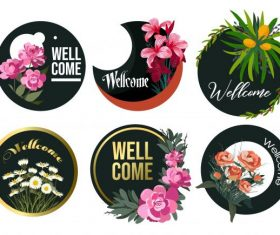 Welcome banners floral circle isolation vector