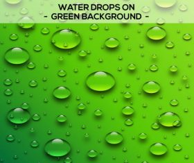 Water drops with green background vector
